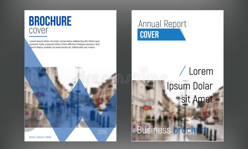 蓝色集合盖子企业小册子传染媒介设计,给的传单抽象背景做广告 现代海报飞行物杂志 库存例证