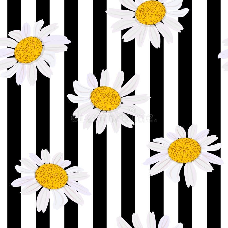 蓝色雏菊开花天空黄色 无缝的模式 也corel凹道例证向量 黑白条纹 向量例证