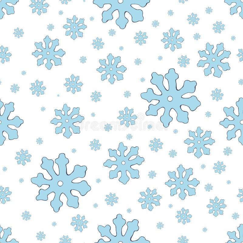 蓝色雪花无缝的样式 葡萄酒冬天背景 圣诞节收集 也corel凹道例证向量 向量例证