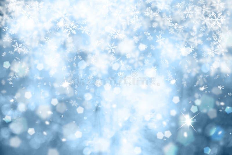 蓝色雪花有闪闪发光背景 向量例证