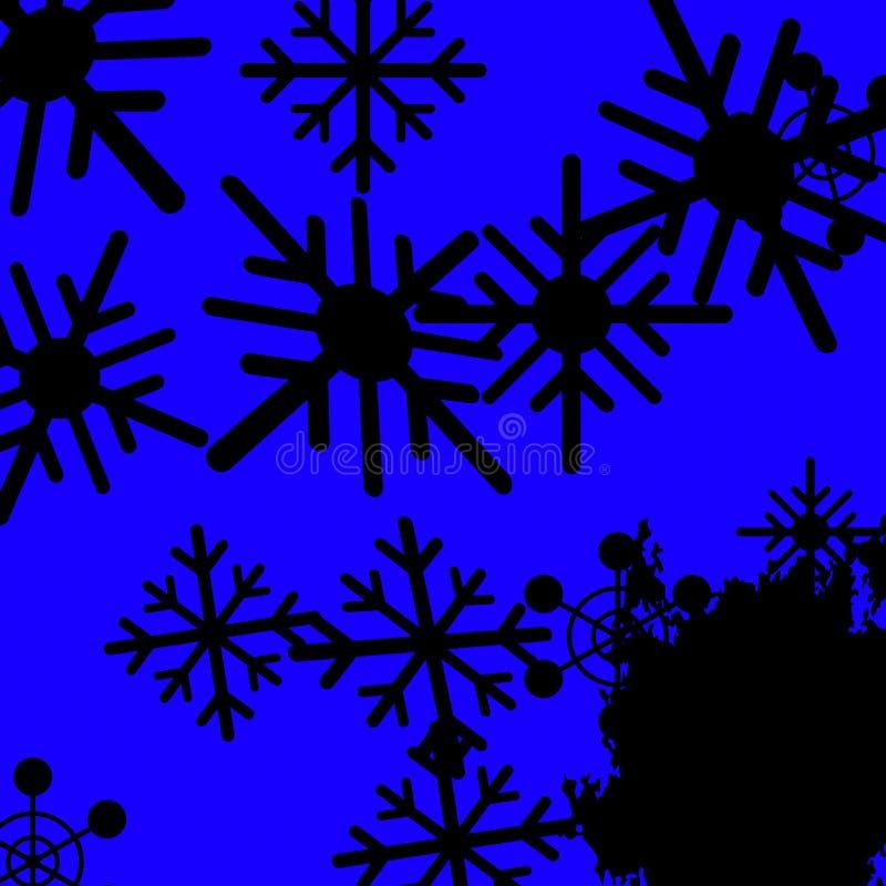 蓝色雪花背景意味冻冷和下雪 向量例证