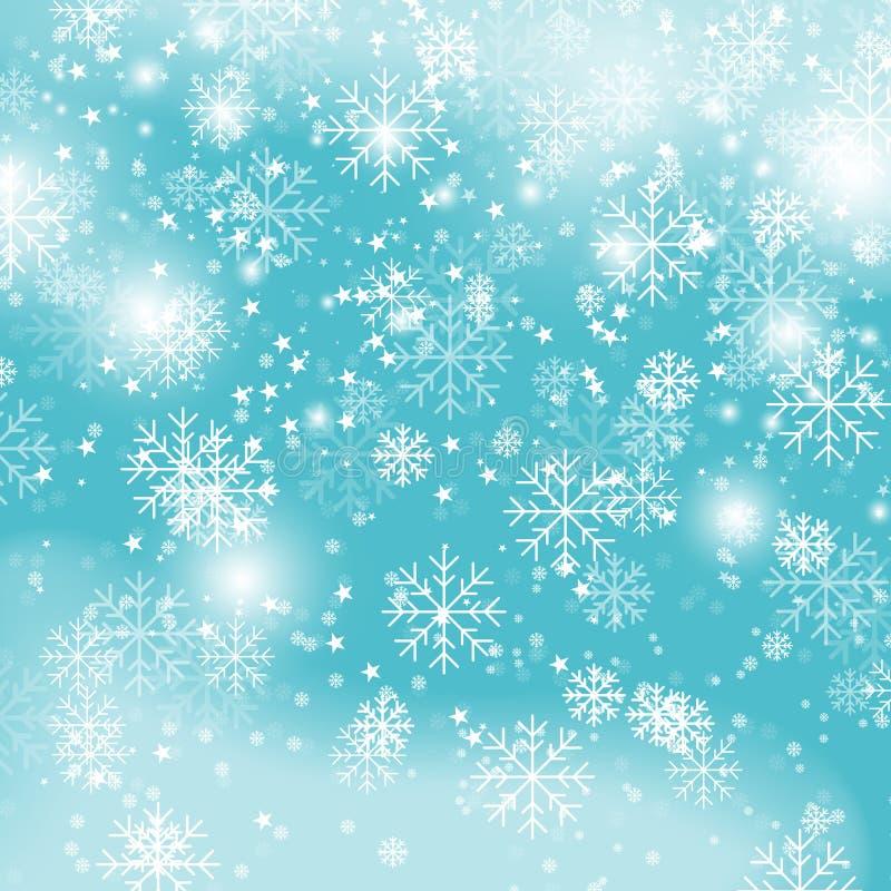 蓝色雪花背景,圣诞节降雪导航例证 与雪花的冬天样式在蓝色 库存例证