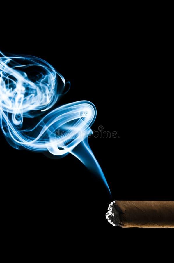 蓝色雪茄古巴人烟 库存图片