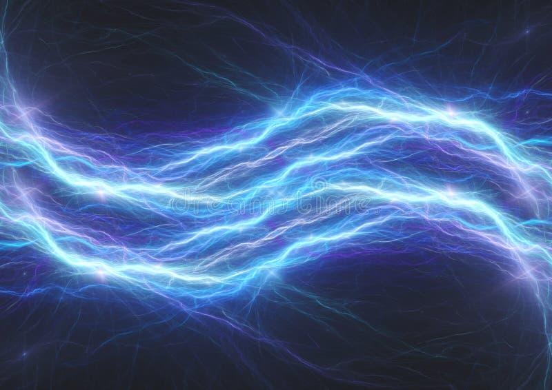蓝色雷电,抽象电子等离子 库存图片