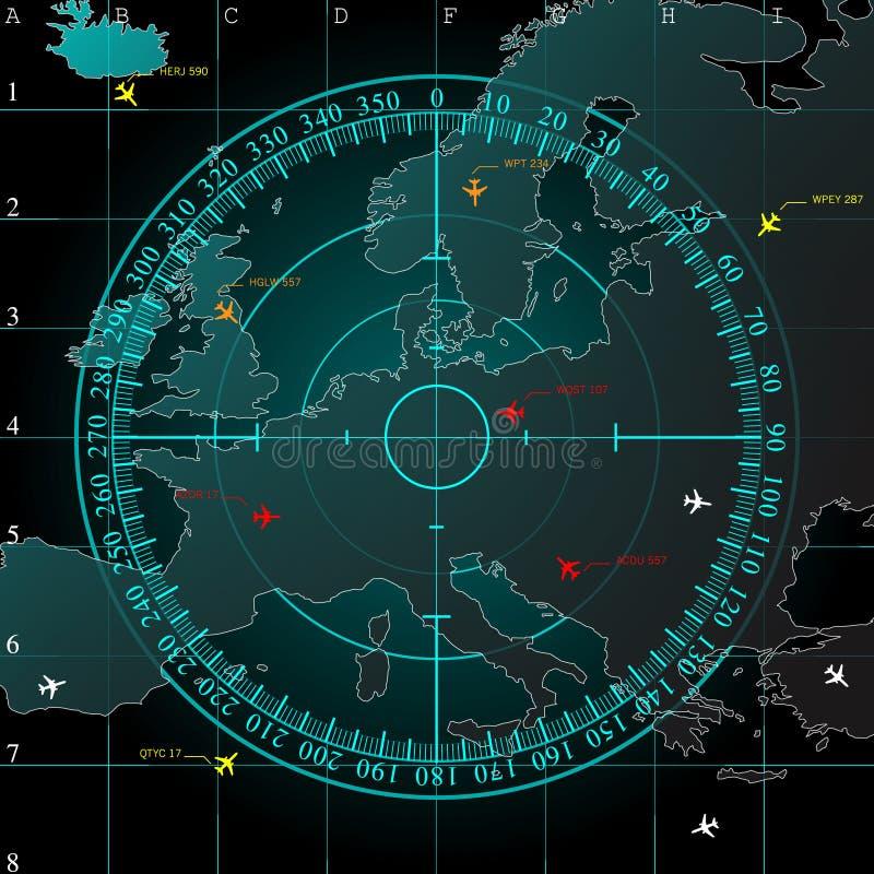蓝色雷达显示器 向量例证