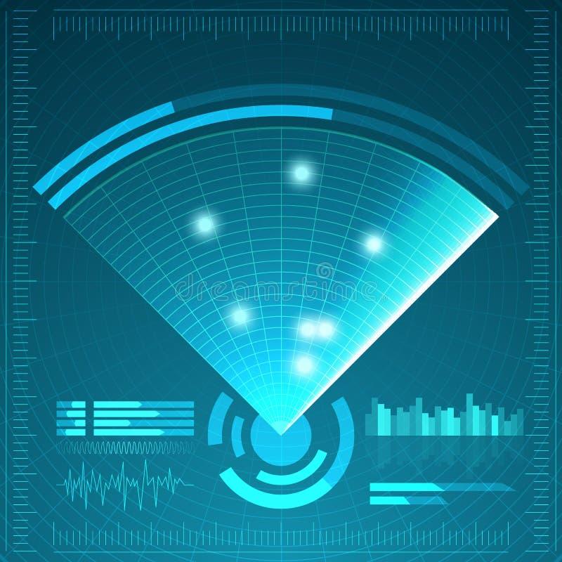 蓝色雷达网 您设计新例证自然向量的水 背景二进制代码地球电话行星技术 未来派用户界面 HUD 库存例证