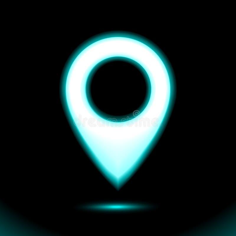 蓝色霓虹地图地点尖象 灯标志标志,标志按钮光,设计的标志在黑背景 ?? 向量例证