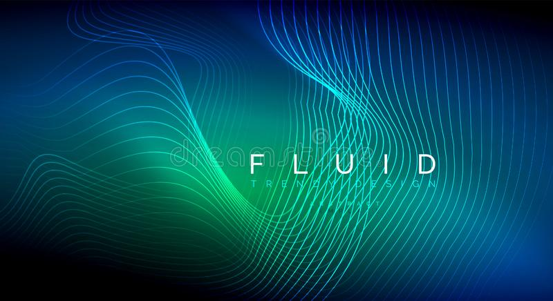 蓝色霓虹微粒发光的可变的波浪线,不可思议的能量空间光概念,抽象背景墙纸设计 向量例证
