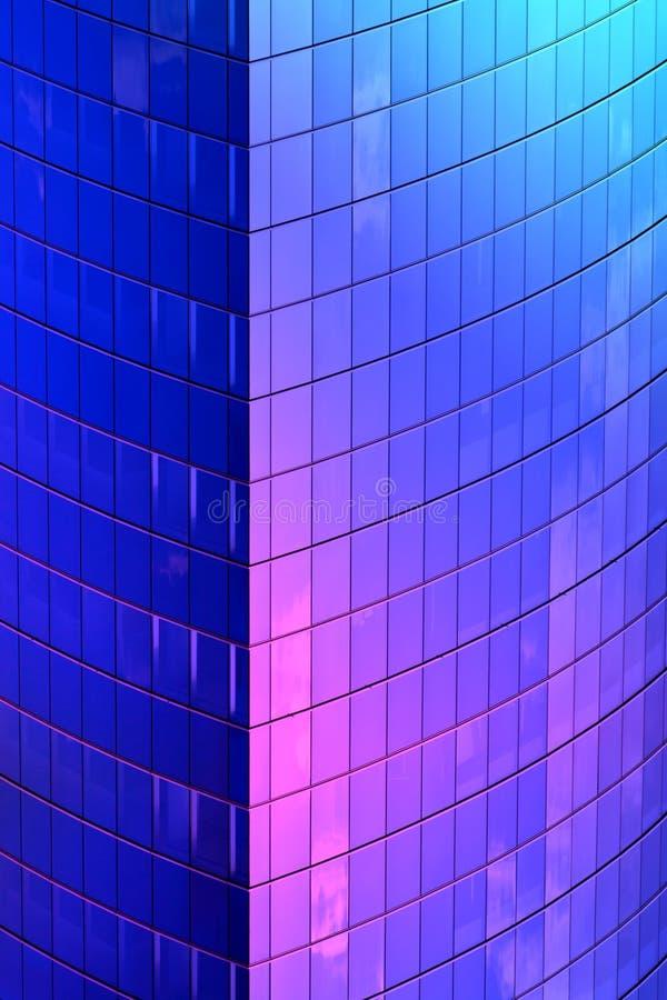 蓝色霓虹摩天大楼角落 免版税库存照片