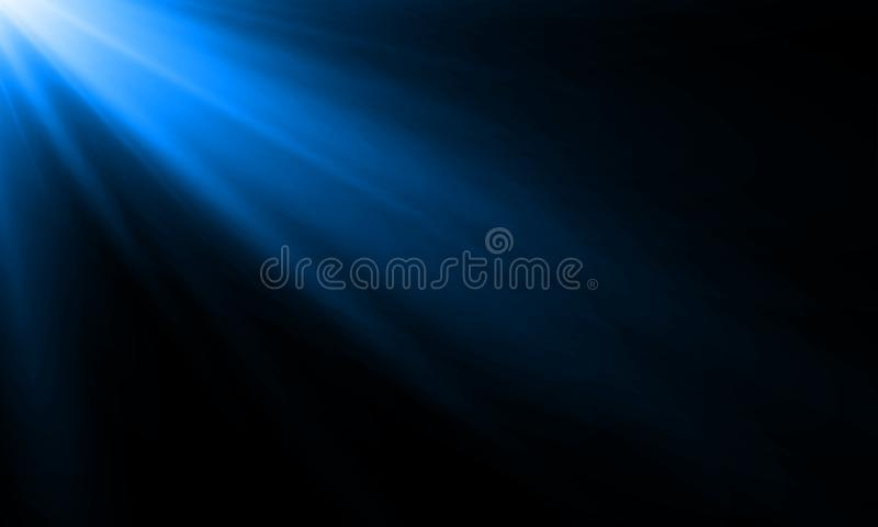蓝色霓虹灯光芒太阳射线传染媒介背景 与阳光亮光的摘要霓虹灯一刹那聚光灯背景在黑色 库存例证