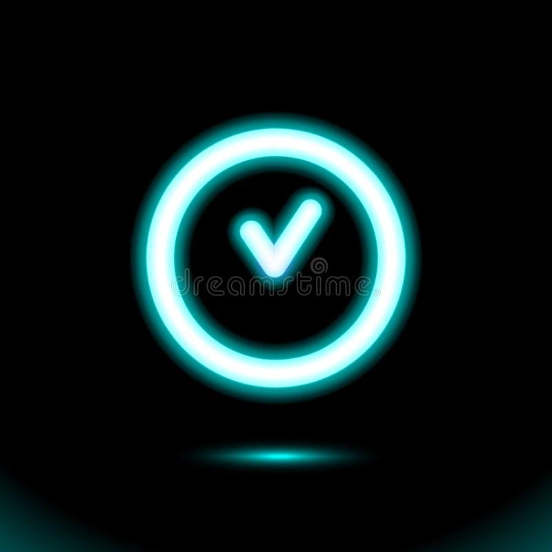 蓝色霓虹灯标志,时钟发光的象,按钮光 设计的标志在黑背景 现代萤光对象 黑暗的广告, 库存例证