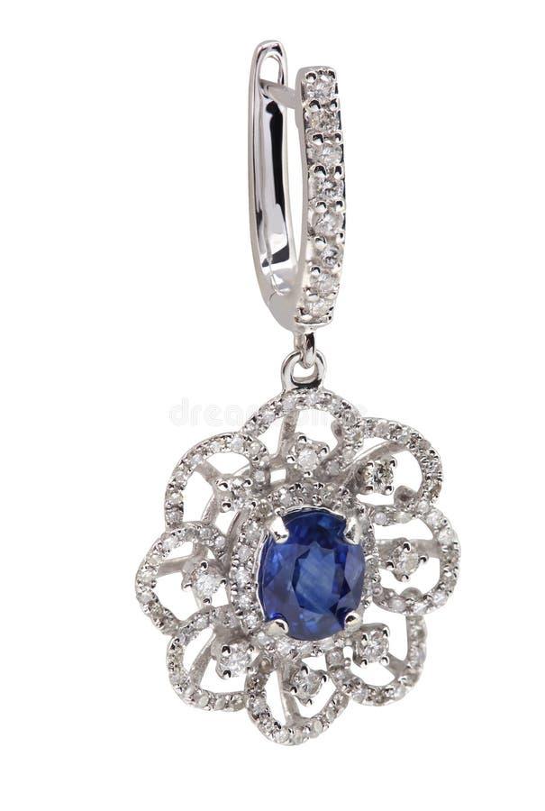 蓝色青玉耳环和金刚石 免版税库存照片