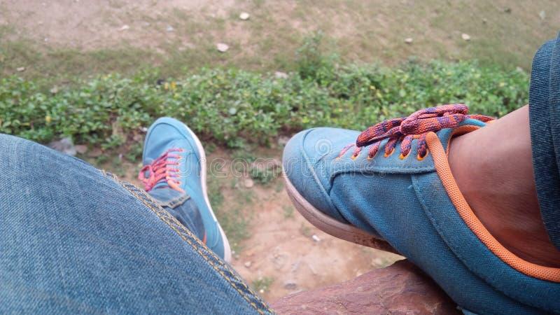 蓝色鞋子街道公园 库存图片