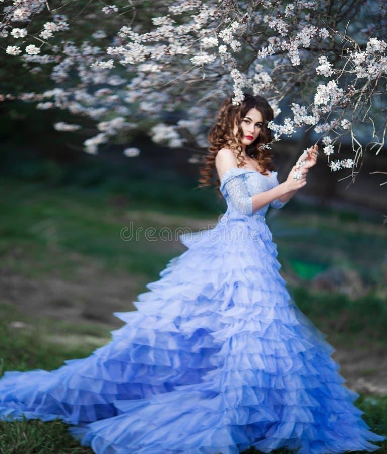 蓝色鞋带礼服身分的春天美丽的浪漫头发的女孩在有猫头鹰的开花的庭院里 免版税图库摄影