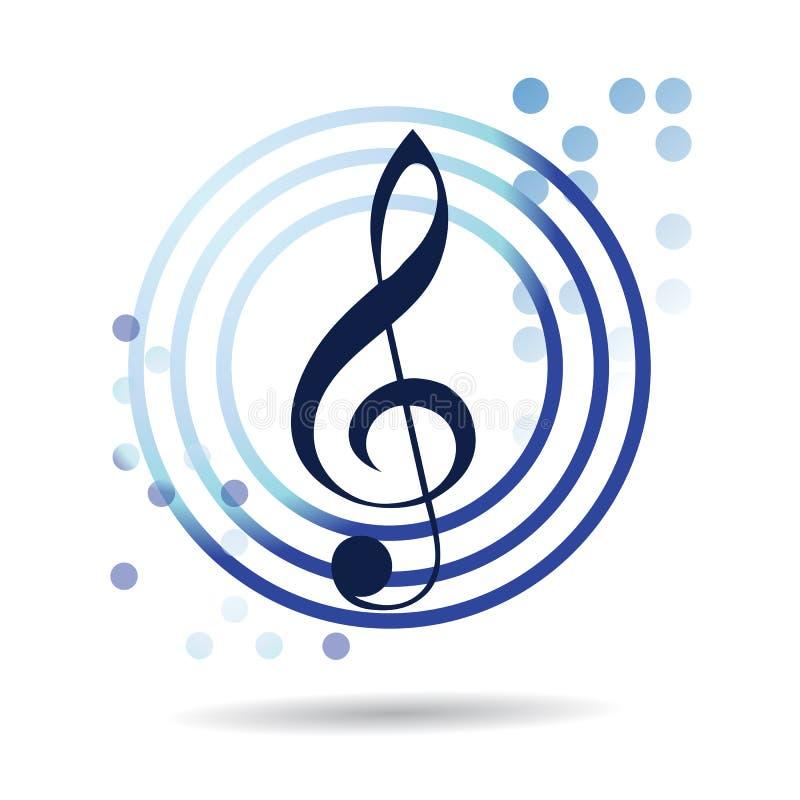 蓝色音乐传染媒介圈子商标设计 库存例证