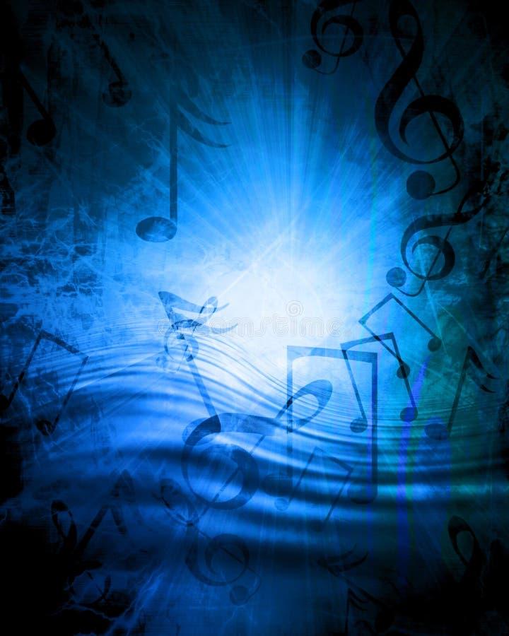 蓝色音乐纸张 向量例证