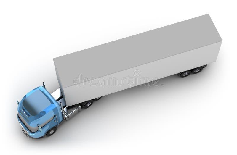 蓝色顶部拖车视图 皇族释放例证