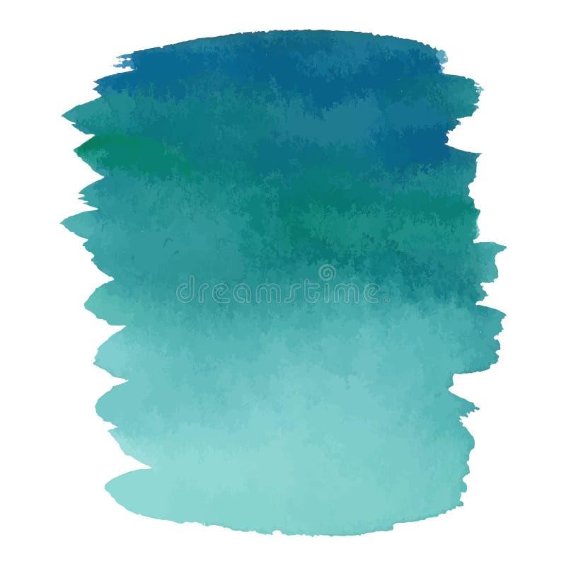 蓝色颜色水彩手拉的梯度横幅 库存例证