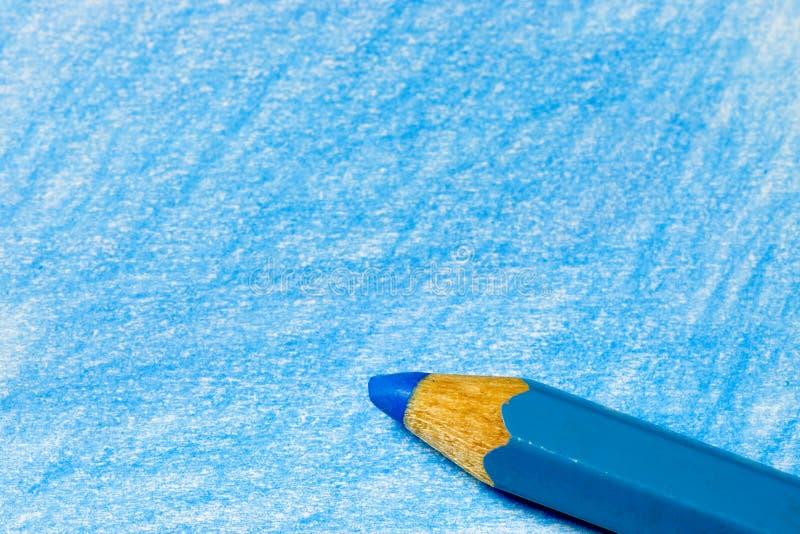蓝色颜色着色铅笔 库存照片