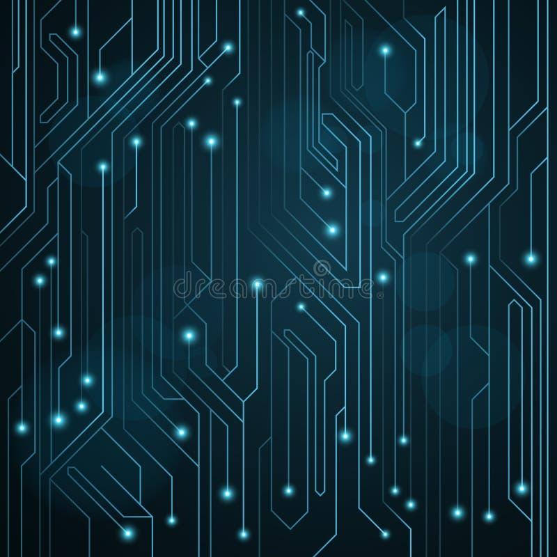 蓝色颜色高科技背景从一个计算机板的与LEDs和光亮霓虹连接器 计算机电路 一个大电镀物品 向量例证