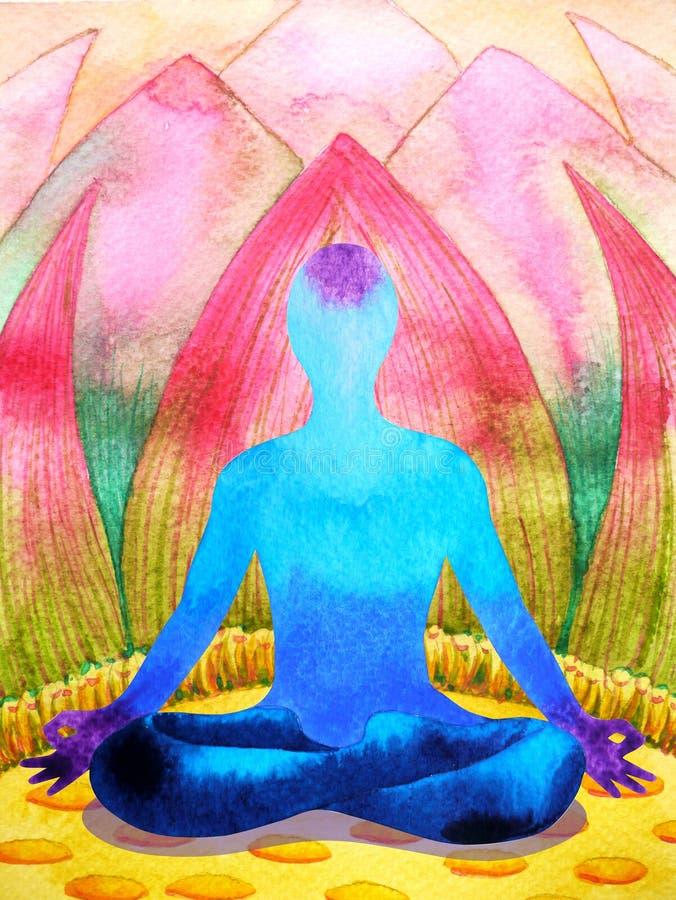 蓝色颜色chakra人的莲花姿势瑜伽,抽象世界,宇宙 皇族释放例证