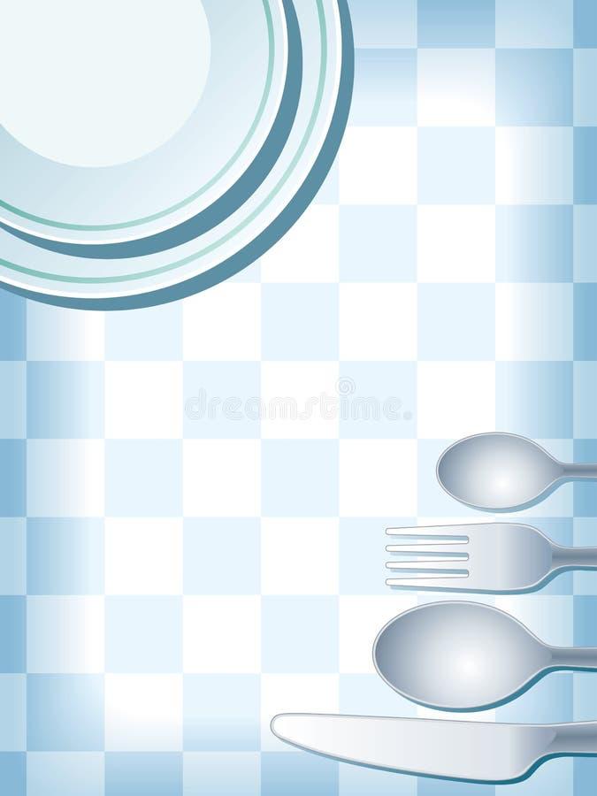 蓝色餐位餐具 皇族释放例证