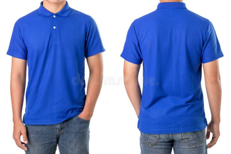 蓝色马球T恤杉年轻亚洲男服空白  库存照片