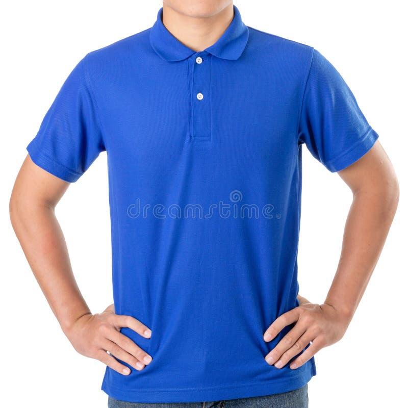 蓝色马球T恤杉年轻亚洲男服空白  免版税库存图片