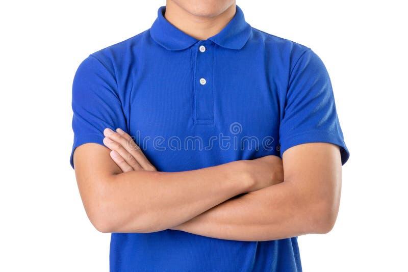 蓝色马球T恤杉年轻亚洲男服空白  库存图片