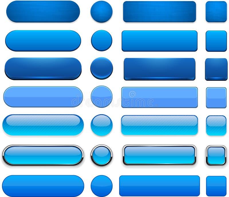蓝色高详细现代万维网按钮。 库存例证