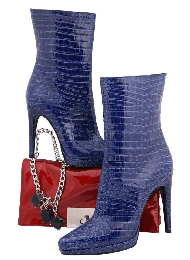 蓝色高鞋子 库存照片