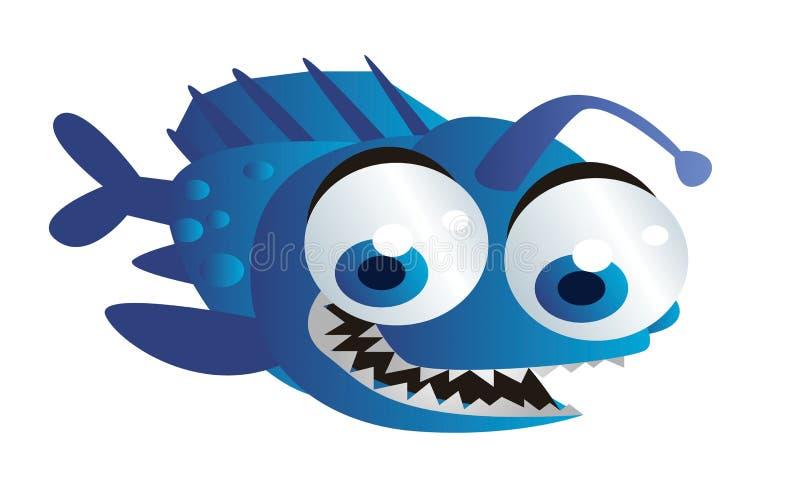 蓝色鱼动画片 库存例证