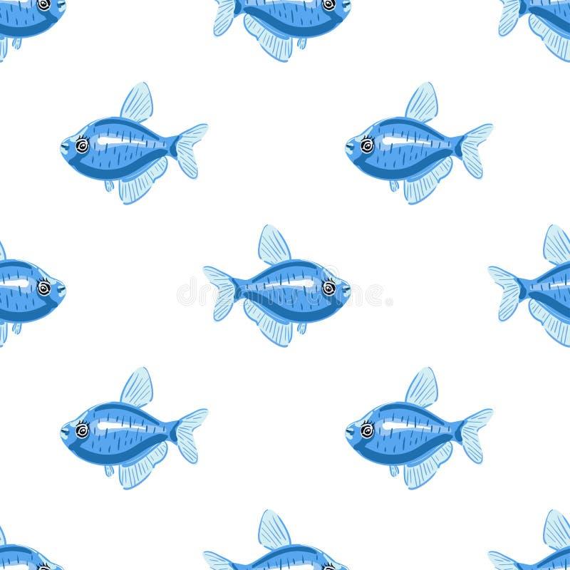 蓝色鱼无缝的样式 动画片样式鱼 免版税库存图片