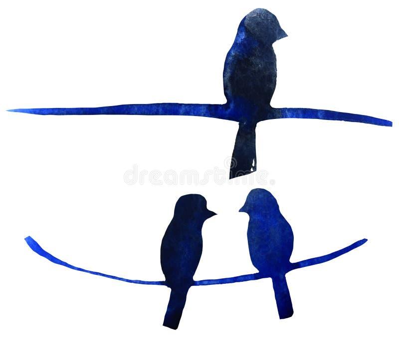 蓝色鸟图在导线 印刷品的,海报,卡片水彩例证 向量例证