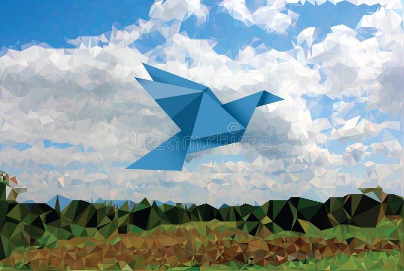 蓝色鸟土地 向量例证