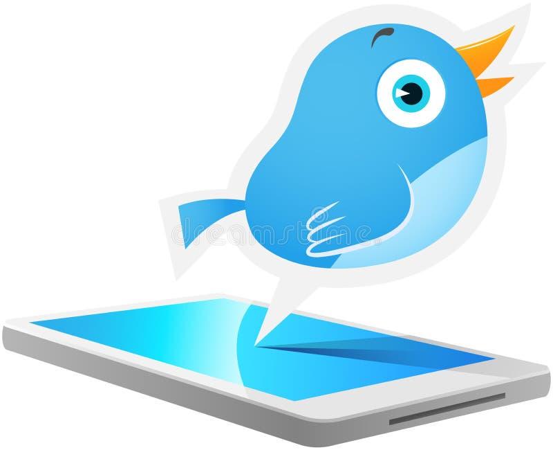 蓝色鸟移动电话 向量例证
