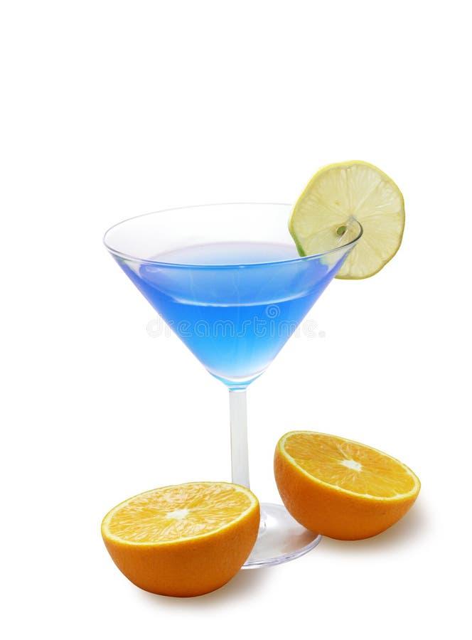 蓝色鸡尾酒柠檬桔子 免版税库存照片
