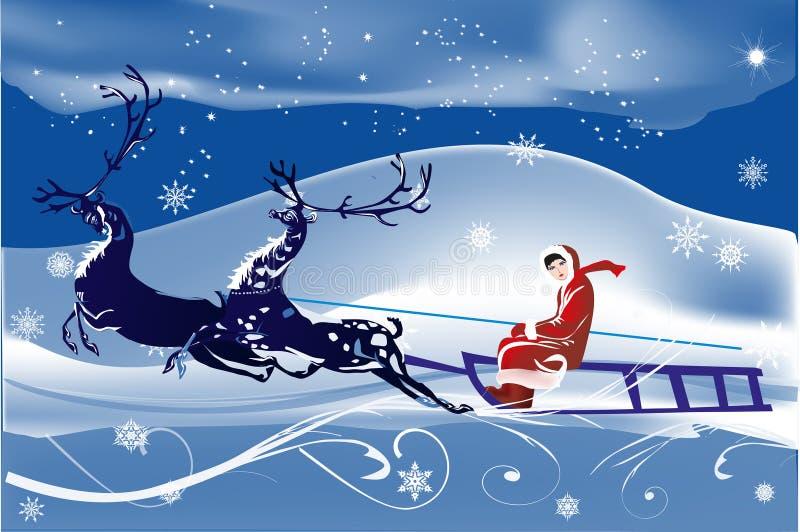 蓝色鹿例证雪橇妇女 库存例证