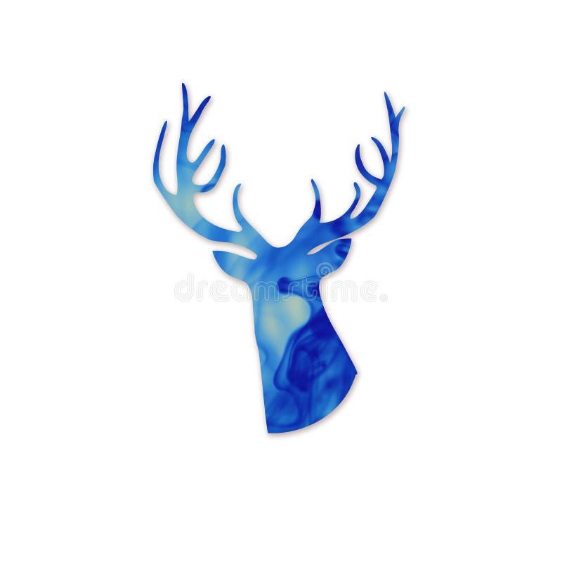 蓝色鹿头silhoueette。空间和鹿现代海报。云彩 库存例证