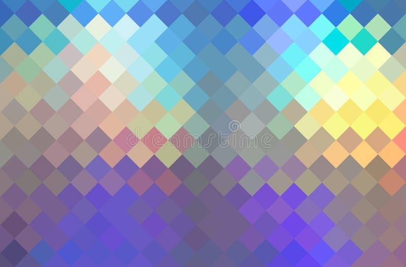 蓝色黄色淡紫色全息图马赛克织地不很细背景 淡光创造性的水晶样式 向量例证