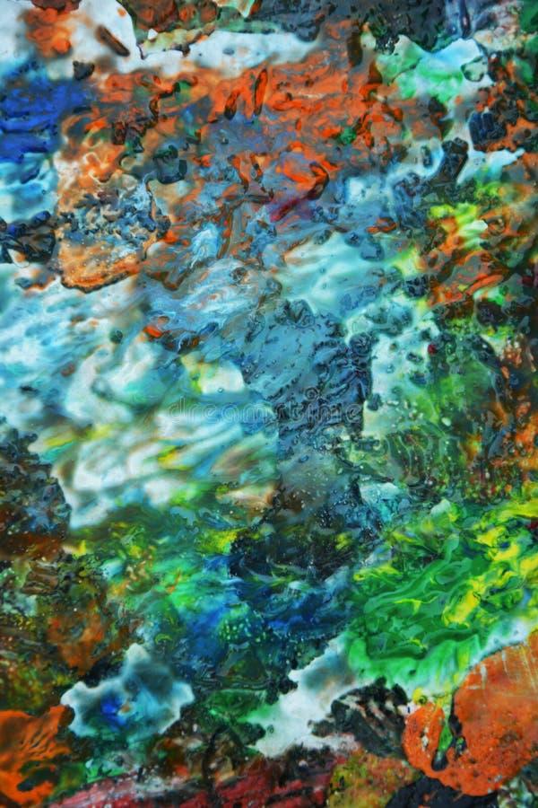 蓝色黄色软的绿色白色紫色明亮的混合颜色,绘察觉背景,水彩五颜六色的抽象背景 库存图片