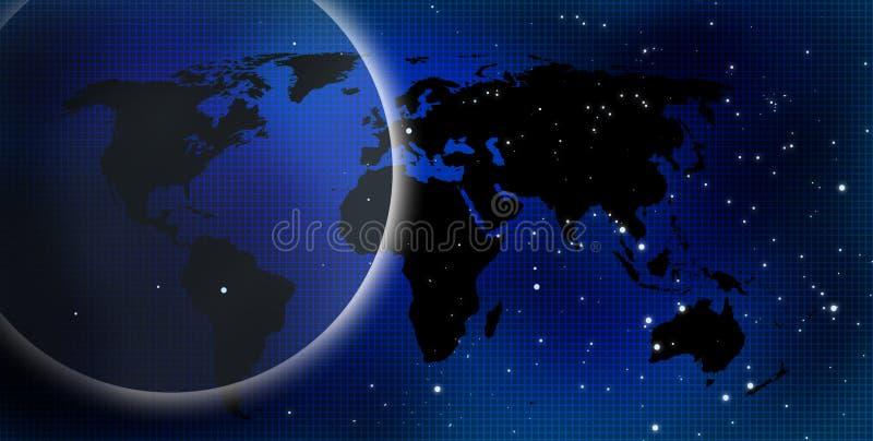 蓝色黑暗的世界 库存例证