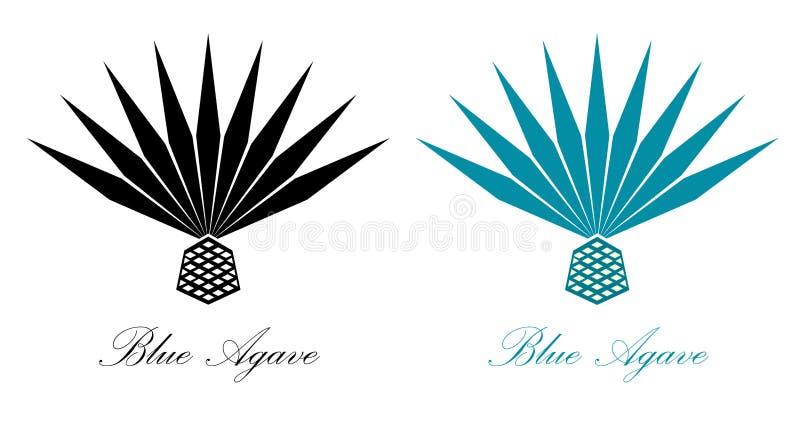 蓝色龙舌兰或龙舌兰酒龙舌兰植物 龙舌兰商标设计 库存例证