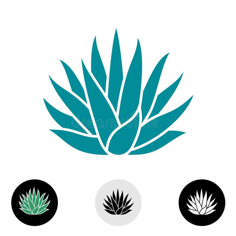 蓝色龙舌兰植物传染媒介剪影 向量例证