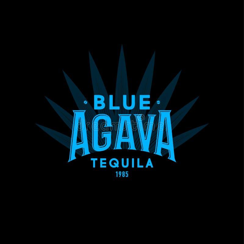 蓝色龙舌兰龙舌兰酒商标 龙舌兰酒象征 蓝色葡萄酒信件和龙舌兰植物黑暗的背景的 库存例证