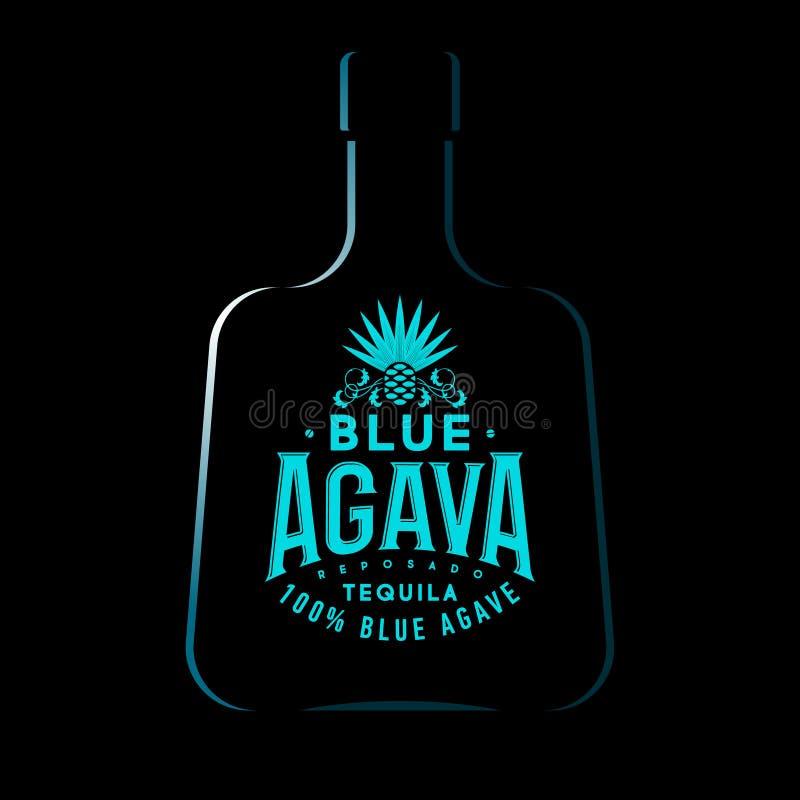 蓝色龙舌兰龙舌兰酒商标 龙舌兰酒象征 蓝色葡萄酒信件和龙舌兰植物黑暗的背景的 向量例证