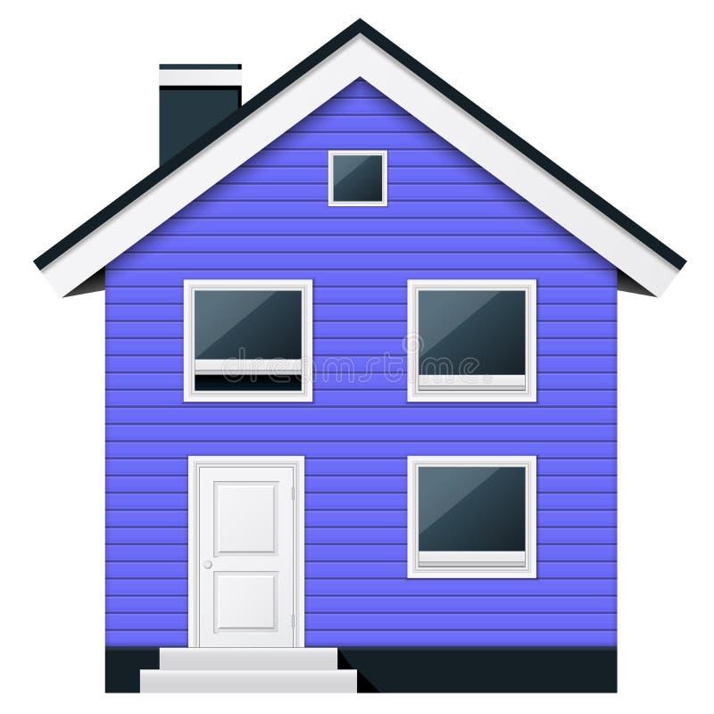 蓝色,在斯堪的纳维亚样式的两层木连栋房屋 向量例证