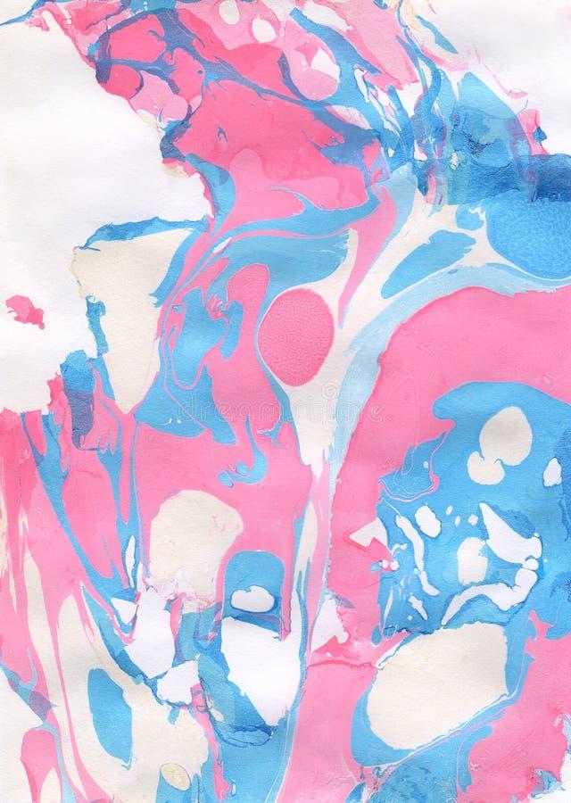 蓝色,桃红色和白色抽象手画背景 免版税库存照片