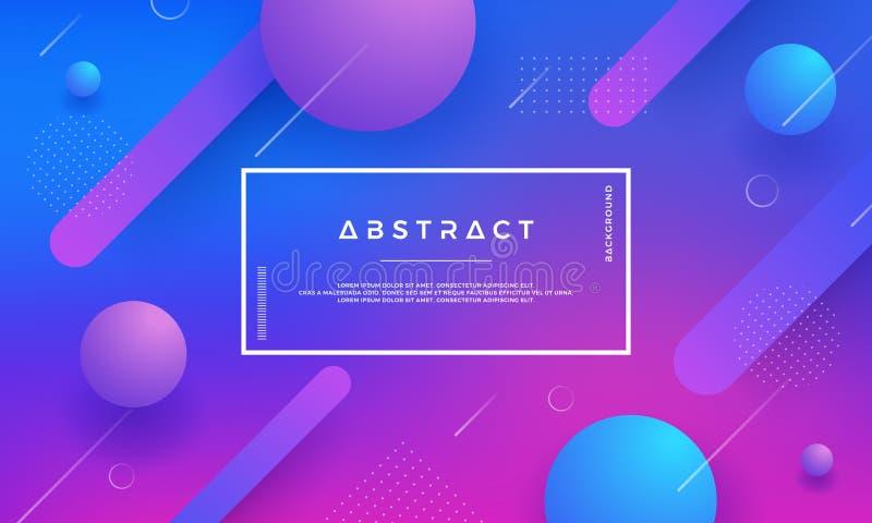 蓝色,桃红色,与时髦梯度颜色的紫色现代几何抽象传染媒介背景 皇族释放例证