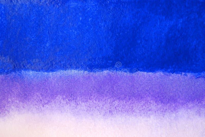 蓝色,淡紫色和白色颜色抽象水彩背景  向量例证